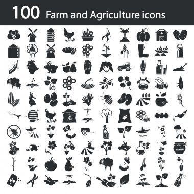 Set of one hundred agriculture icons