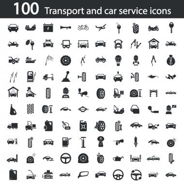 Set of one hundred transport and car service icons
