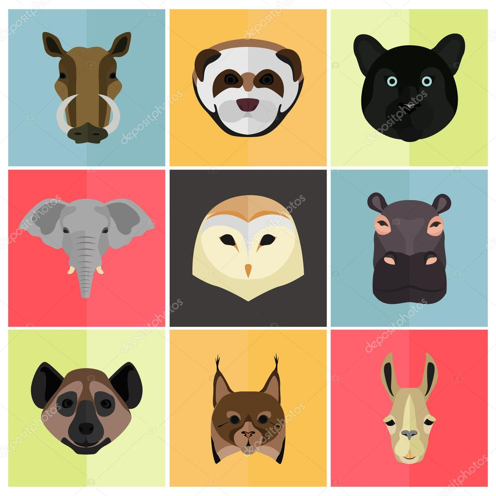 Animals color flat set