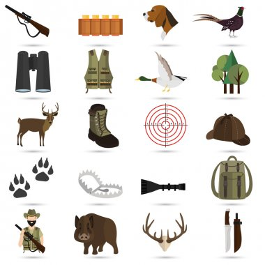 Set of twenty color flat hunting icons