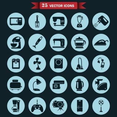 Set of twenty five  household appliances icons