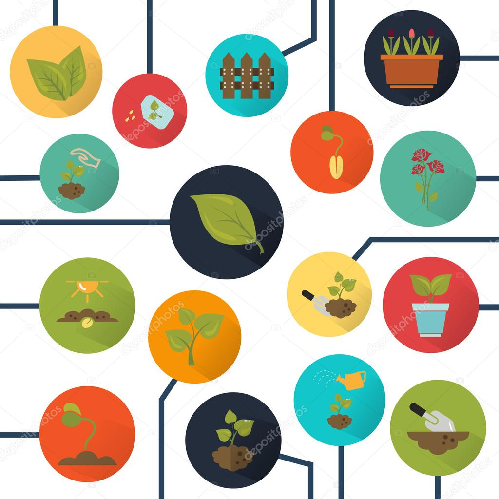 Set of sixteen color agriculture icons