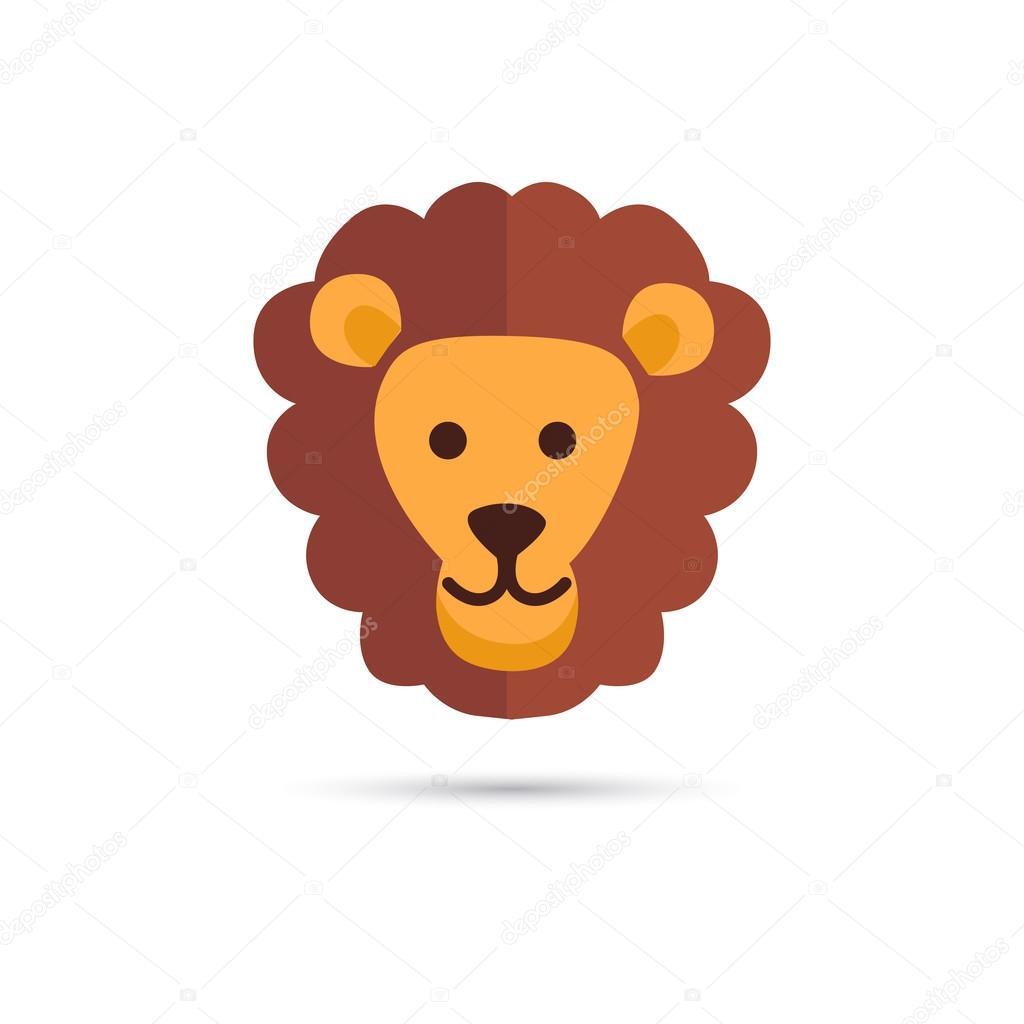 Color circus lion head icon