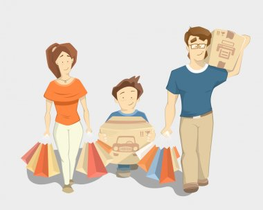 Happy family with paperbags shopping bags