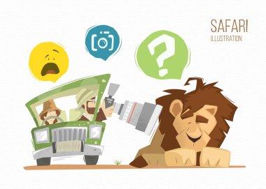 Safari lion color illustration