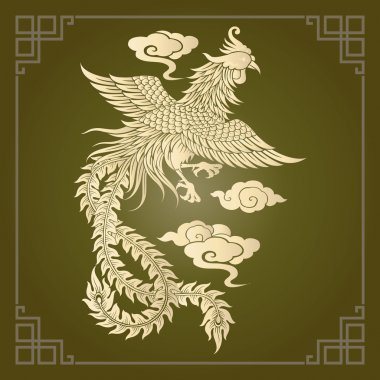 Vector vintage Chinese phoenix engraving