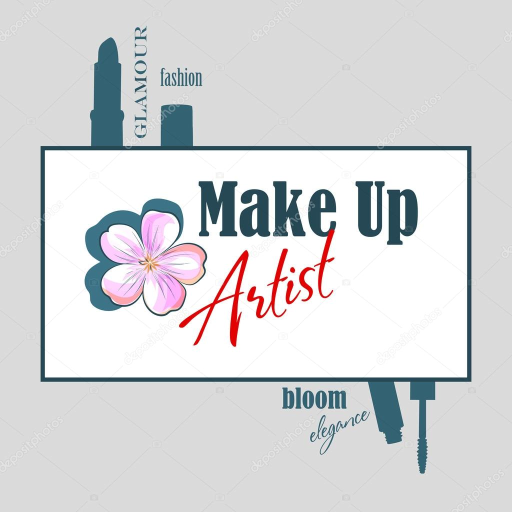 Design Logo Makeup Artist Or Banner For Beauty Salon With Flower Lipstick Brushes Mascara And Eyeliner Symbol Stylish Vector Art Template