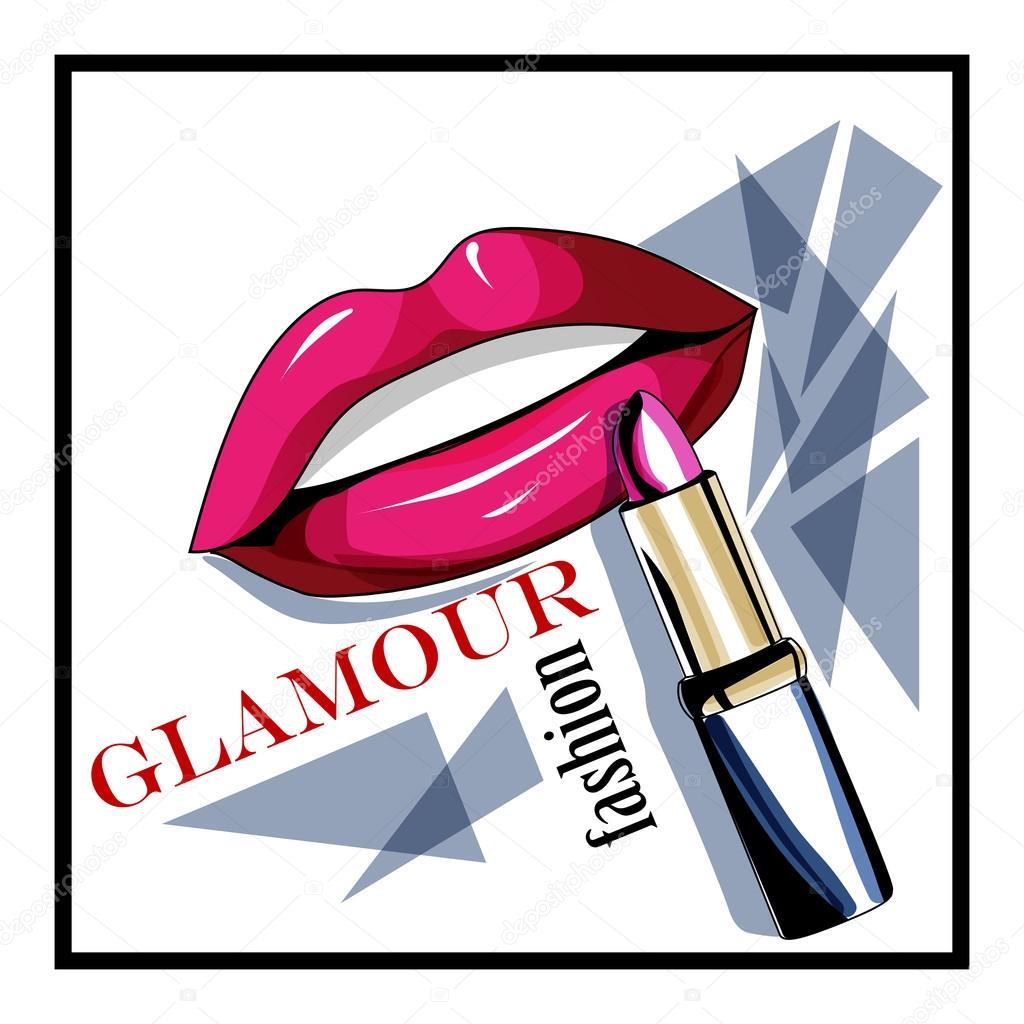lippenstift en lippen schoonheid logo � stockvector