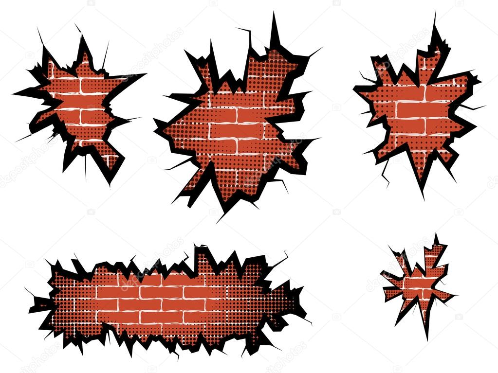 Simple agujero en la pared rota con trama de semitonos — Vector de ...