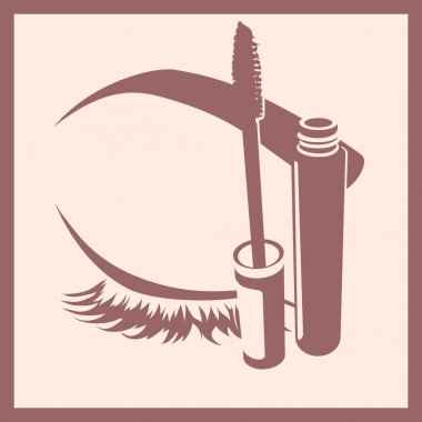 mascara and closed eye and brow icon