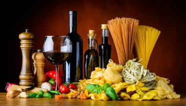 Mediterranean Cuisine Food with Wine and Pasta