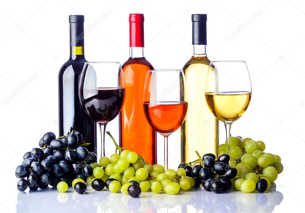 Botellas Y Copas De Vino Con Uvas