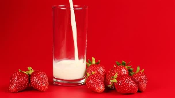 Mléko se nalije do sklenice a okolí rozptýlené jahody na červeném pozadí