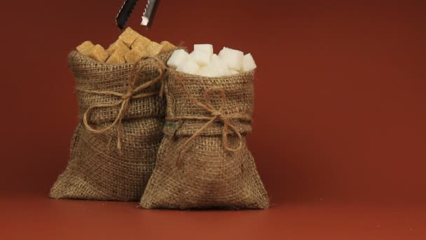Brown sugar in burlap bag and white sugar in burlap bag on brown background