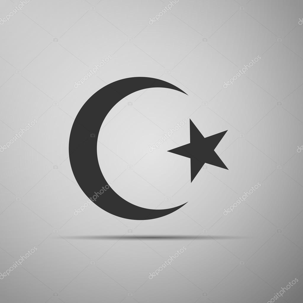 Islam Symbol Icon On Grey Background Stock Vector Mingirov