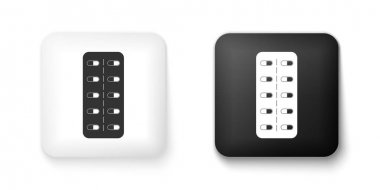Black and white Pills in blister pack icon isolated on white background. Medical drug package for tablet: vitamin, antibiotic, aspirin. Square button. Vector. icon