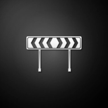 Silver Safety barricade symbol icon isolated on black background. Traffic sign road. Road block sign. Long shadow style. Vector. icon