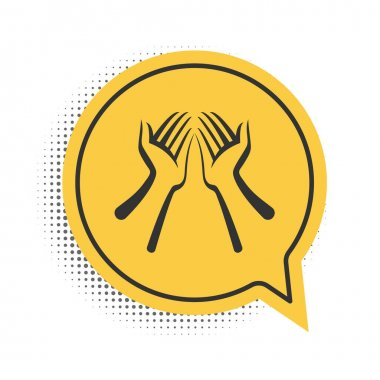 Black Hands icon isolated on white background. Yellow speech bubble symbol. Vector. icon