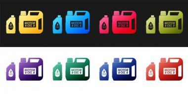 Set Plastic canister for motor machine oil icon isolated on black and white background. Oil gallon. Oil change service and repair. Engine oil sign.  Vector. icon