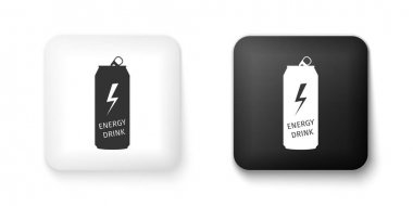 Black and white Energy drink icon isolated on white background. Square button. Vector. icon