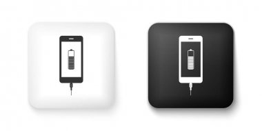Black and white Smartphone battery charge icon isolated on white background. Phone with a low battery charge and with USB connection. Square button. Vector. icon