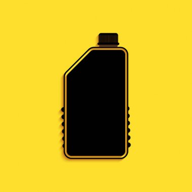 Black Household chemicals bottle icon isolated on yellow background. Liquid detergent or soap, stain remover, laundry bleach, bathroom or toilet cleaner. Long shadow style. Vector. icon