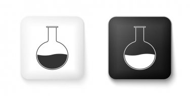 Black and white Test tube and flask - chemical laboratory test icon isolated on white background. Laboratory glassware sign. Square button. Vector.