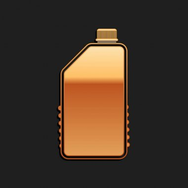 Gold Household chemicals bottle icon isolated on black background. Liquid detergent or soap, stain remover, laundry bleach, bathroom or toilet cleaner. Long shadow style. Vector. icon