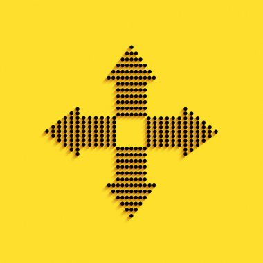 Black Arrows dots in four directions icon isolated on yellow background. Long shadow style. Vector.