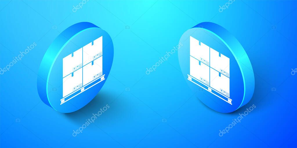 Isometric Cardboard boxes on pallet icon isolated on blue background icon