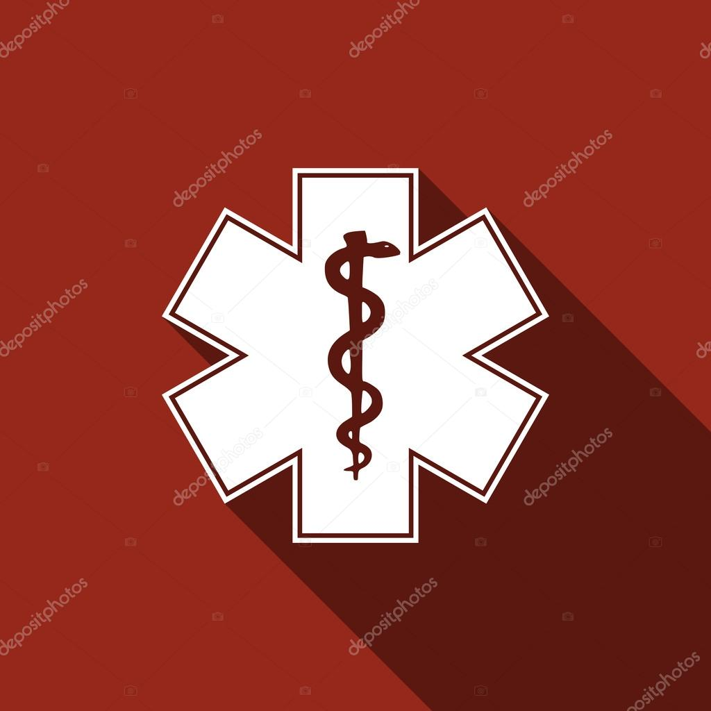 Medical Symbol Of The Emergency Star Of Life Icon With Long Sh