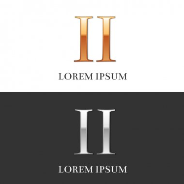 2, II, Luxury Gold and Silver Roman numerals, sign, logo, symbol