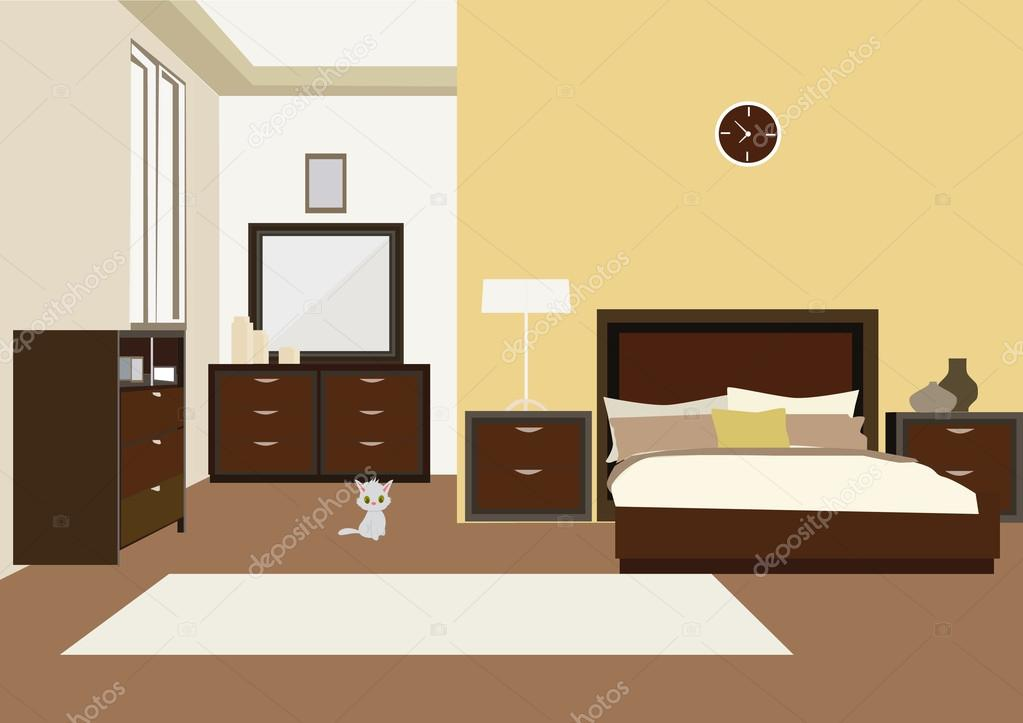 illustration of bedroom interior with carved wood bed, dresser and ...