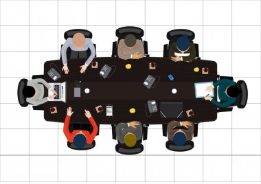 Flat design office workers business Meeting , in top view vector illustration.