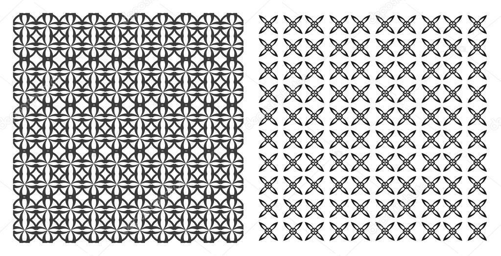 different vector seamless patterns. Endless texture can be used for wallpaper, pattern fills, web page background,surface textures. Set of monochrome geometric ornaments.