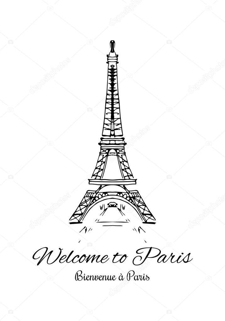Fashion cool card vector eiffel tower drawing with signature welcome fashion cool card vector eiffel tower drawing with signature welcome to paris on english and french thecheapjerseys Image collections