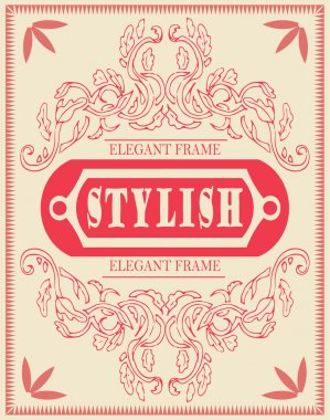 Vector set of design elements: page decoration, Premium Quality and Satisfaction Guarantee Label, antique and baroque frames and floral ornaments. Vintage cool template, invitation