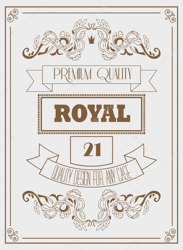 Vintage design royal template with signature, crown and elegant ...