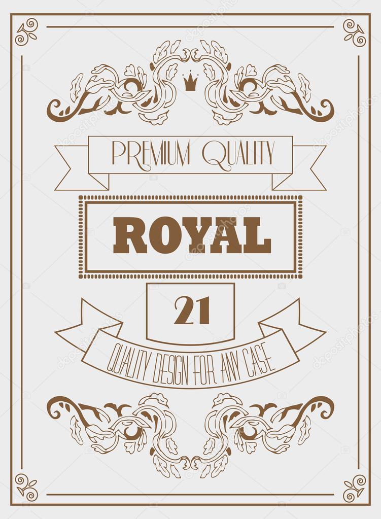 vintage design royal template with signature crown and elegant frames stock vector 105936218 - Elegant Frames