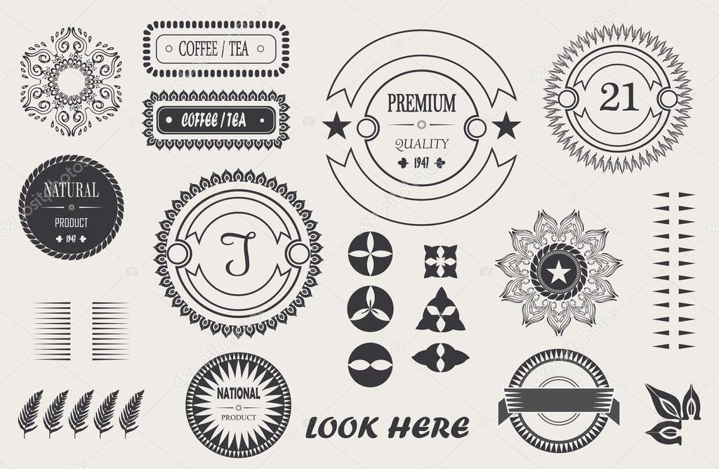 Vector de elementos vintage cool para tus diseño, marco barroco ...