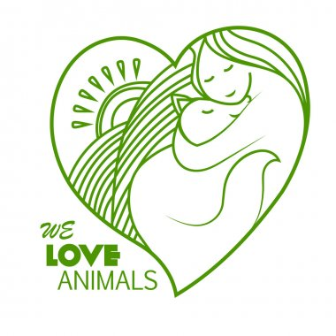 Shelter pets sign icon. Animal protection. We love animals. Vegan simbol. Logo, label, love to all animals