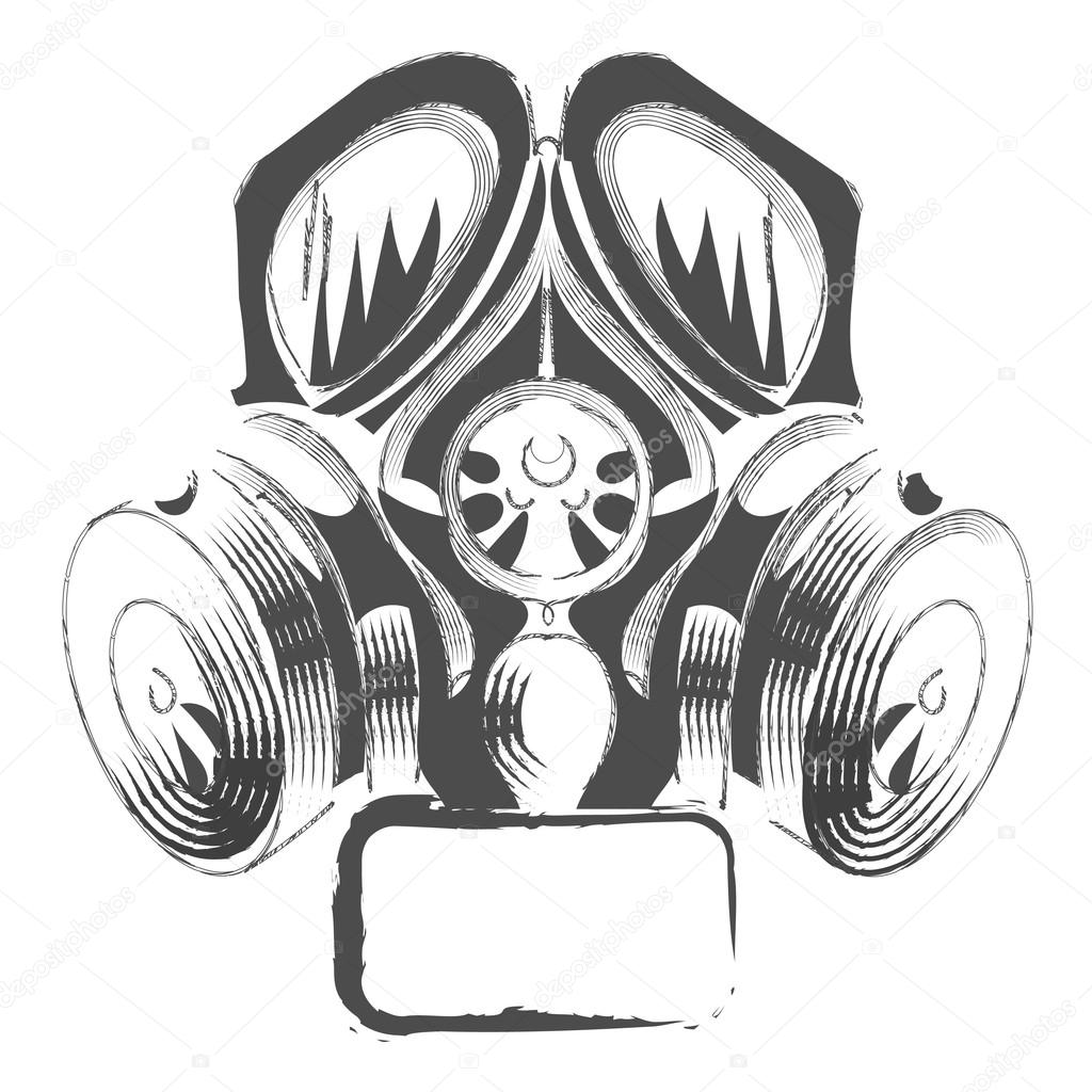 Vector respirator graffiti steampunk style gas mask on white background stock vector