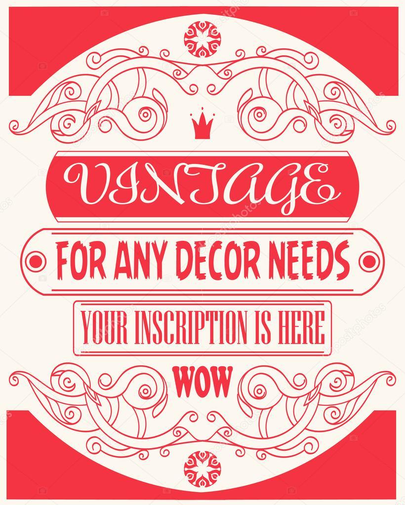 Plantilla vintage vector fresco diseño, invitación y otros casos con ...