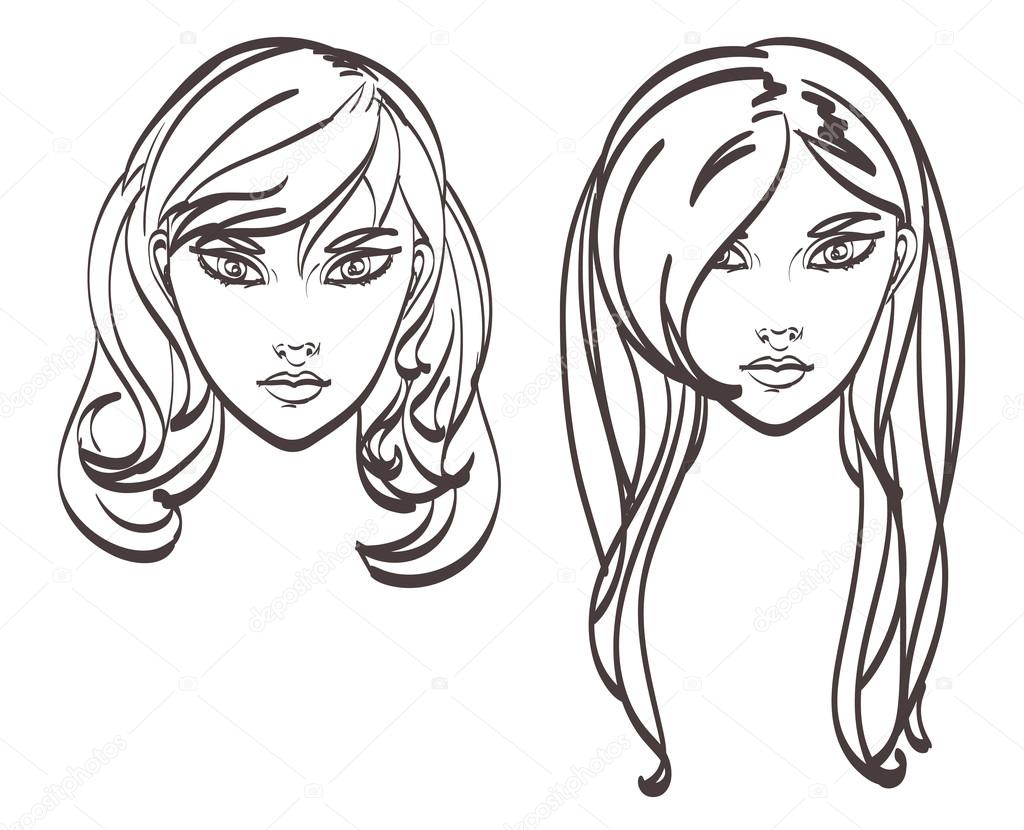 Hairstyles Drawn Vector Faces Of Cute Girl Eps 10 Stock Vector