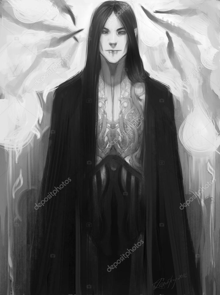 Photoshop Drawing Male Elf Dark Art Stock Photo