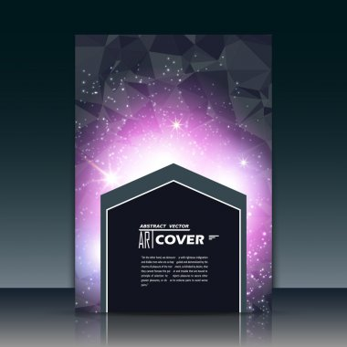 Abstract composition, purple outer space galaxy, glory pink star ray, a4 brochure title sheet, cosmic sky icon, text frame surface, creative figure, logo sign, firm banner form, flier fashion, EPS10