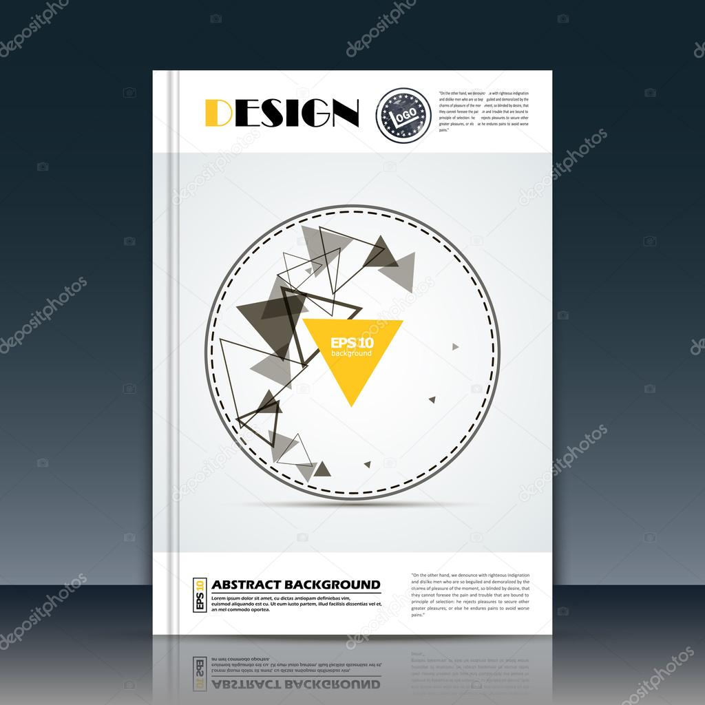 Abstract composition, yellow triangle part construction, circle text frame surface, white a4 brochure title sheet, creative figure icon, logo sign, firm banner form, flier fashion, EPS10 illustration