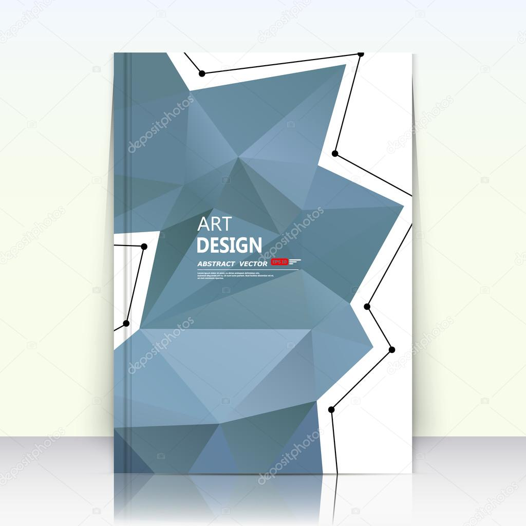 Abstract composition, blue polygonal triangle part construction, text frame surface, white a4 brochure title sheet, creative figure icon, logo sign, firm banner form, flier fashion, EPS10 illustration