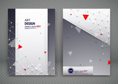 Abstract composition, business card set, dot, line, gray field, red triangle construction, polygon connection collection, a4 brochure title sheet, creative text frame surface, figure logo icon, EPS10