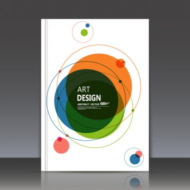 Abstract composition, text frame surface, white a4 brochure title sheet, creative figure, round logo sign construction, banner form, blue, orange, green circle icon, flyer fiber, EPS10 illustration